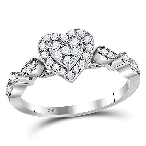 14kt White Gold Womens Round Diamond Heart Cluster Ring 1/3 Cttw Ring Size 8