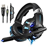 YCCTEAM Gaming Headset for PS4, Xbox One, PC, Over Ear Headphones with Mic Noise Reduction, LED Light Soft Earmuffs Bass Surround Stereo Sound for Laptop Mac Nintendo Switch Games