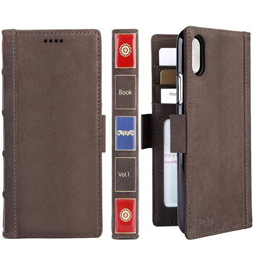 iPhone Xs Max Leather Wallet Case - iPulse Vintage Book Series Italian Full Grain Leather Handmade Flip Case for Apple iPhone Xs Max (2018) with Magnetic Closure - Retro Brown
