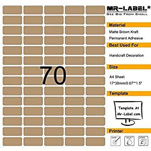 Mr-Label Special Small Size Blank Kraft Labels –Self Adhesive Stickers for Oil Bottle |Hand craft| Finishing Touch (Size:3817mm) (10 sheets/700 labels)