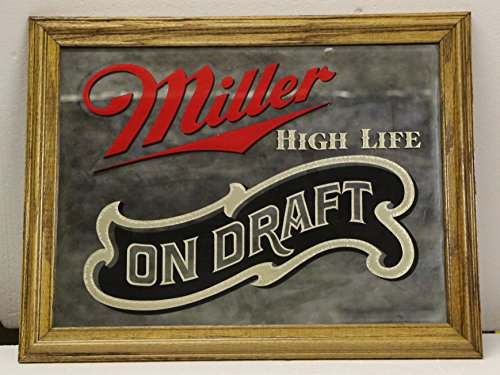 Miller High Life on draft beer mirror smoked mirror solid wood frame from 80's distributor ad (Mirror Bar Beer)