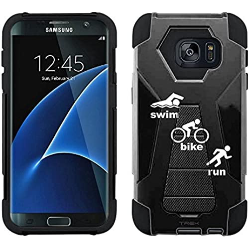 Samsung Galaxy S7 Edge Hybrid Case Silhouette Swim-Bike-Run Triathlon on Black 2 Piece Style Silicone Case Cover with Stand for Samsung Galaxy S7 Edge Sales