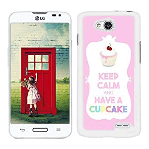 Funda carcasa para LG L70 diseño keep calm and have a cupcake rosa pastel borde blanco