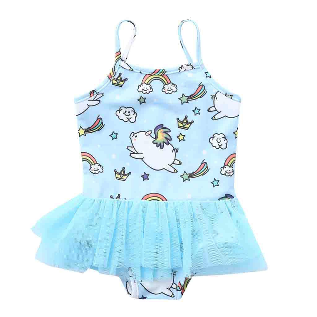 Newmao Toddler Girls Swimsuit Summer Printed Mesh Patchwork Swimmear Romper Clothes