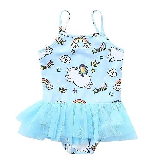 aa9242536f2 Girls' One Piece Swimsuits Cartoon Pattern Ruffle Lace Layer Bathing Suit  Kids Beach Sport Swimwear