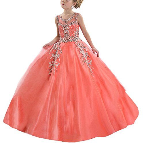 Hanayome Girl's Pageant flower girl Holiday dresses R87 Size 10 Coral by Hanayome