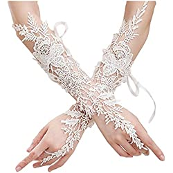 M Bridal Women's Fingerless Rhinestones Lace Elbow Bridal Gloves for Wedding Party Costume Accessory G04 (Ivory)