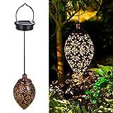 Tomshine Hanging Solar Lights Solar Lantern LED Garden Lights Metal Lamp Waterproof for Outdoor Hanging Decor