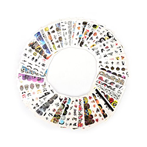 48 Sheets Halloween Nail Art Water Transfer Decals Manicure Skull Stickers]()