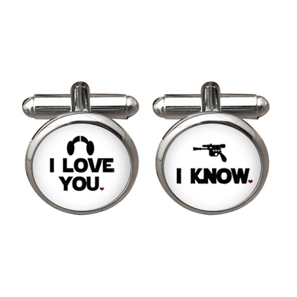 ZUNON I Love You Cufflinks I Know Wedding Anniversary Groom Mens Jewelry Wedding Cufflinks (White) by ZUNON (Image #1)