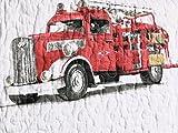 3-pc Vintage FIRE ENGINE / FIRE TRUCK Quilt Set - Full /Queen (set includes 2 shams) Reversible
