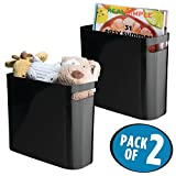 mDesign Plastic Storage Organizer, Holder Bin Box with Handles - for Cube Furniture Shelving Organization for Closet, Kid's Bedroom, Bathroom, Home Office - 10'' x 5'' x 10.75'' high - 2 Pack, Black