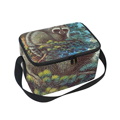 Lunch Bag Cooler Tote Bag Treed Raccoon Lake Tahoe Lunchbox Meal Prep Handbag for Picnic School Women Men Kids