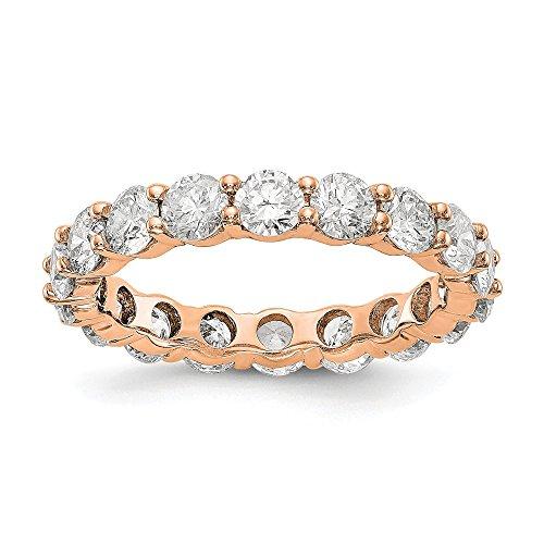 FB Jewels 14K Rose Gold SI2-I1(H-I) Shared Prong Eternity Diamond Wedding Band Size 4.5