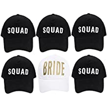 Bachelorette Party Hats - 6 Pack White & Black Gold Letter Trucker Hats for Bride and Squad Bridal Shower Supplies