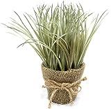 Artificial Plant Grass in Burlap Pot (Light Desert Green)
