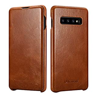 ICARER Phone Case Fit for Samsung S10 Leather Case (2019),Genuine Leather Case Flip Folio Opening Protective Cover, Slim Side Open Case Compatible for Galaxy S10 Slim Case 6.1 inch (Brown)