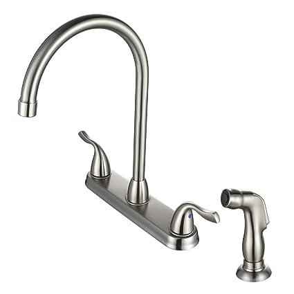 Desfau 4 Hole Kitchen Faucet With Sprayer High Arc Swivel Spout 2