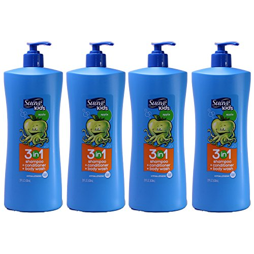 Suave Kids 3 in 1 Shampoo Conditioner and Body Wash, Apple, 28 Ounce, (Pack of 4)