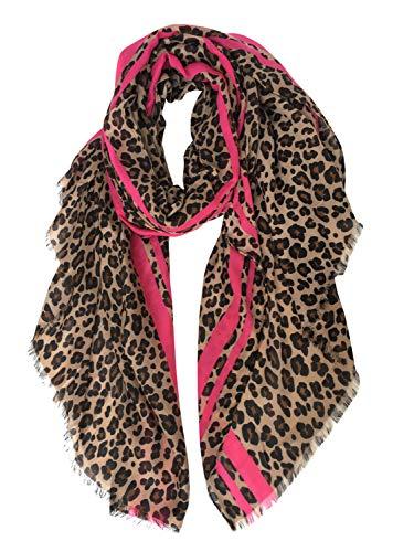 GERINLY Women's Scarves: Colorful Leopard Print Oblong Wrap Scarf (Leopard-Rose)