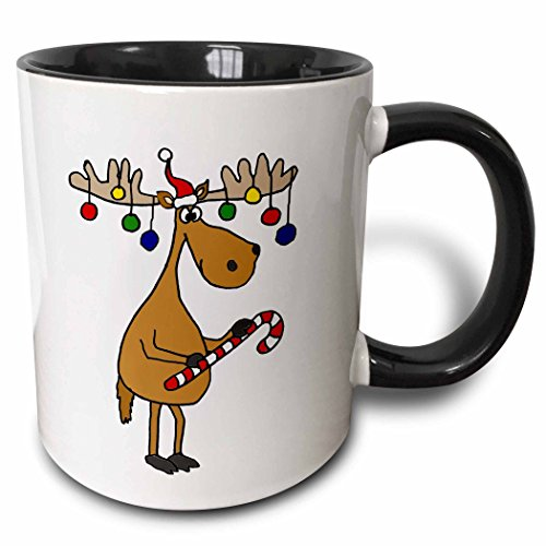 3dRose All Smiles Art Christmas - Funny Christmas Moose with Christmas Balls and Candy Cane - 15oz Two-Tone Black Mug (mug_220489_9)
