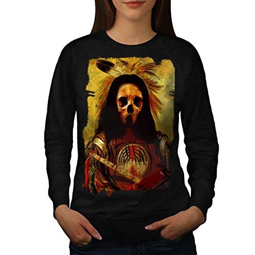 [Skull Indian Soldier Costume Women NEW Black L Sweatshirt | Wellcoda] (Mayan Warrior Costumes)