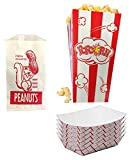 Peanuts Popcorn & Snack Trays 25 pack party set Printed Wrap Bags with Squirrel 25 Bag Set Red White Stripe Classic Movie Style Box Favor Fun Sized Pack