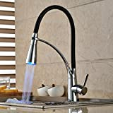 Lovedima LED Single Handle Kitchen Sink Faucet with Pull Out Sprayer Chrome & Black