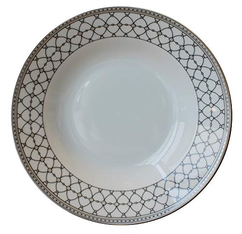 Leadex porcelain 8-inch Rim Soup Bowl Set/Pasta Plates,18 Ounces,Elegant Plaid pattern, Set of 4