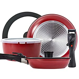 ROCKURWOK Pots and Pans Set Nonstick, Hard Anodized Cookware Set with 2 Removable Handle, Gas, Induction Compatible… 7