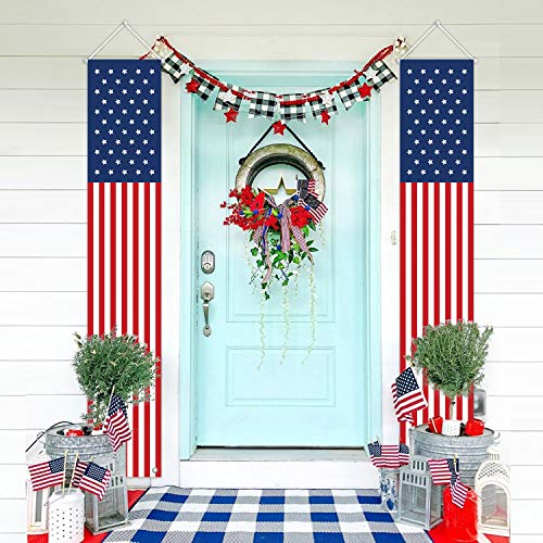 MORDUN Patriotic Decorations for Independence Day-4th of July Decor-Hanging American Flag Banners Stars and Stripes Porch Sign-Fourth of July Party Supplies for Indoor Outdoor-Red White Blue (2 Pcs)]()