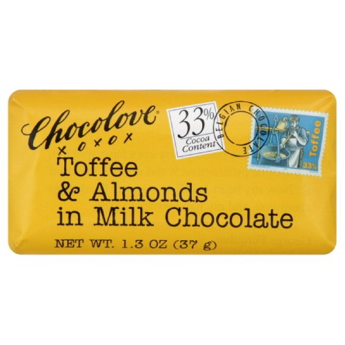 Chocolove Toffee And Almond Milk Chocolate Mini Bar, 1.3 Ounces (Pack of - Toffee Chocolate Almond Bars