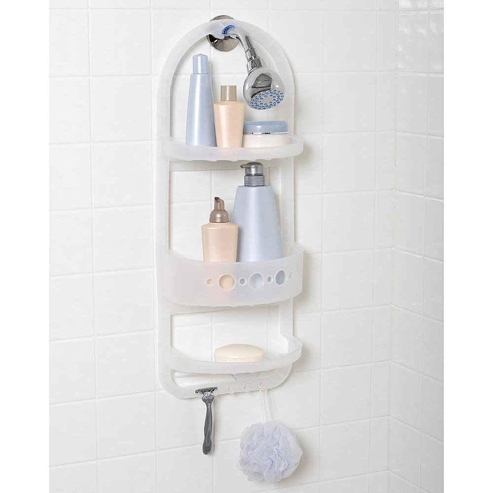 Plastic Shower Head Caddy Hanger Shampoo Razor Soap Dish Towel Wash Cloth Rack