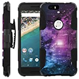 Purple Galaxy [COMBAT SERIES] Rugged Holster Dual Layer Hybrid Hard Soft rubber Protective Case [Non-Slip] Cover drops and impacts Resilient for Google Nexus 6P