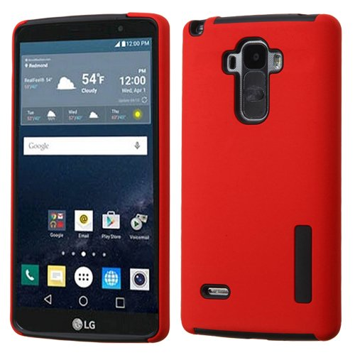 Asmyna Cell Phone Case for LG LS770 (G Stylo) - Retail Packaging - Smoky Black/Red