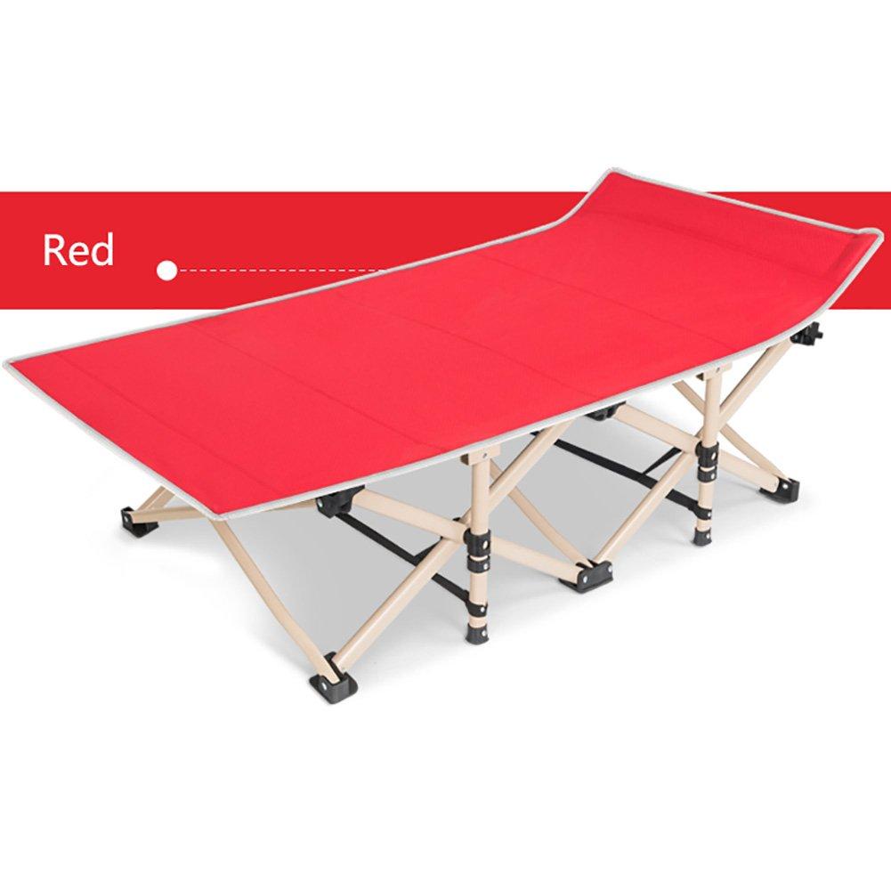 WSSF- ヘビーデューティスチールチューブ折りたたみキャンプベッドオフィスランチブレイクシエスタベッドシングルラウンジチェアキャンプ旅行屋外ベッド - 負荷ベアリング200kg B07DJBKJYL  Red