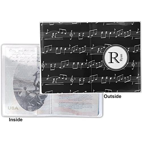 Musical Notes Vinyl Passport Holder (Personalized)