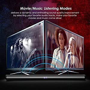 Soundbar for TV, Joly Joy 40 Watt Wired and Wireless Bluetooth Audio Speaker 2.0 Channel Stereo 35-Inch, Music/Movie Listening Mode, Includes RCA Cable, Remote Control, Wall Mounting Brackets
