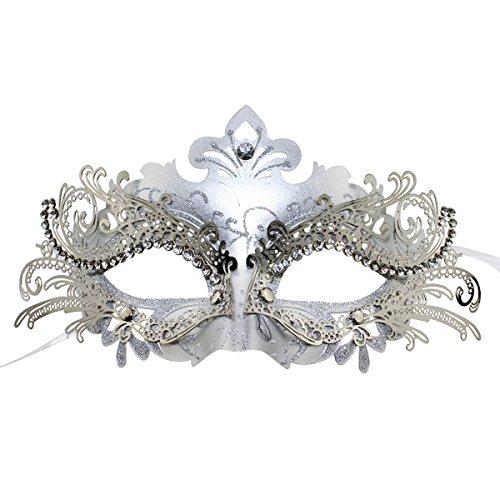 Coxeer Metal Venice Dance Pretty Elegant Lady Halloween Mask (Silver and Gray)