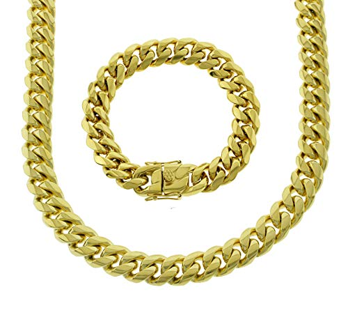 Bling Bling NY Solid 14k Yellow Gold Finish Stainless Steel 14mm Thick Miami Cuban Link Chain Box Clasp Lock (Chain 20'' & Bracelet ()