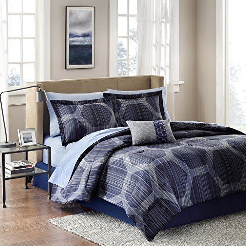Madison Park Essentials Rincon Queen Size Bed Comforter Set Bed in A Bag - Blue, Geometric - 9 Pieces Bedding Sets - Ultra Soft Microfiber Bedroom Comforters