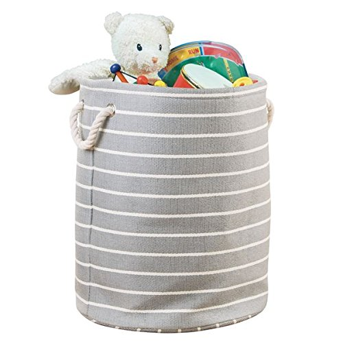 - mDesign Decorative Soft Round Toy Storage Organizer Basket Bin with Rope Handles for Child, Toddler, Kids Bedrooms, Playrooms, Nurseries - Folds Flat for Compact Storage - Gray/White Striped