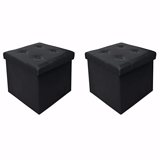 Otto Ben 15 Storage Ottoman – 2pc Set Folding Toy Box Chest with Memory Foam Seat, Tufted Faux Leather Ottomans Bench Foot Rest Stool, Black