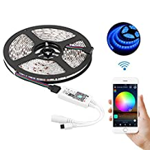 Wifi Wireless LED Light Strip Kit, 16.4ft Waterproof Multi Color RGB Light Strips With DC 12V Adapter, Support Smart Phone APP Control & Alexa Control & IR Remote Control, Support Timer Voice/Music Control on APP (1 pack)