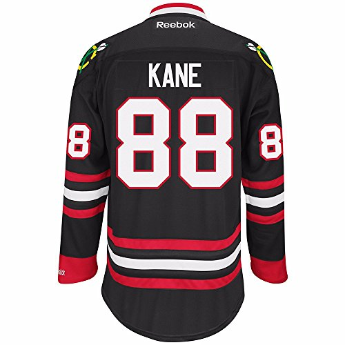 Reebok Chicago Blackhawks NHL Patrick Kane #88 Black Premier Jersey Stitched (Large)
