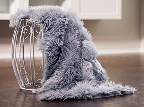 Fur Cover - Chanasya Super Soft Faux Fur Fake Sheepskin Grey Sofa Couch Stool Casper Vanity Chair Cover Rug/Solid Shag Area Rugs For Living Bedroom Floor - Slate Blue Grey 2ftx3ft