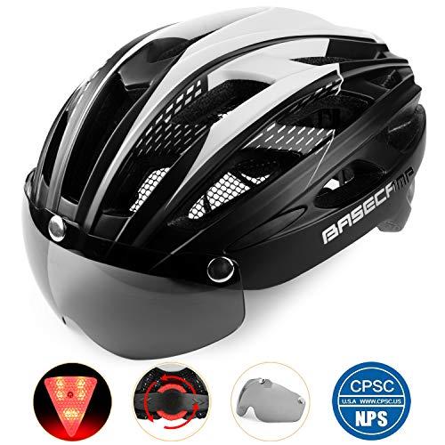 Bike Helmet, Basecamp Light Weight Bicycle Helmet Specialized Cycling Helmet with Removable Visor& Safety Light& Adjustable Liner for Men&Women (Black)