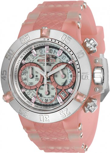 Invicta Women's 'Subaqua' Quartz Stainless Steel and Silicone Casual Watch, Color:Pink (Model: 24381)