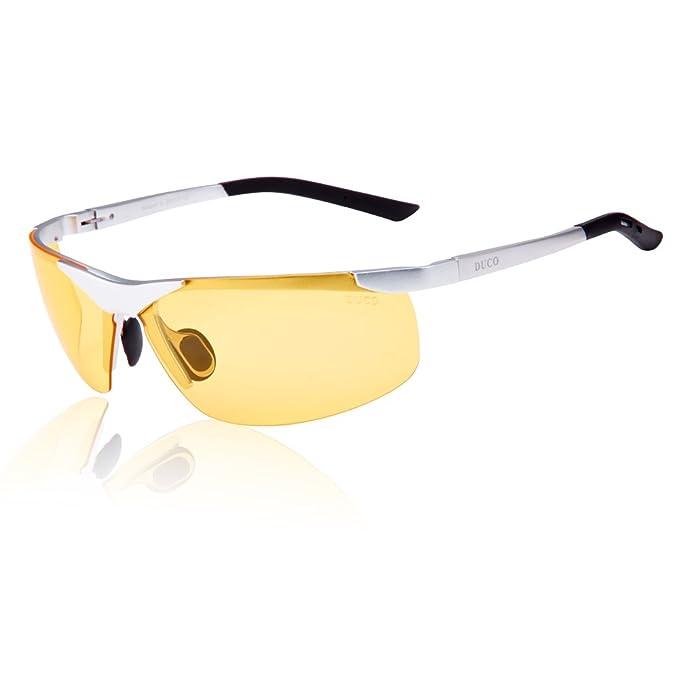 DUCO 6806 Gafas de Visión Nocturna Anti Deslumbrante para Conducir Polarizadas Marco Plateado Lentes Amarillas