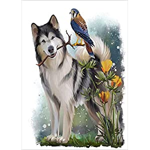 """Dog Diamond Painting- Malamute Diamond Painting Kits, Full Coverage, Round Rhinestone, DIY Tool Kit Art Supplies- Fun Gifts for Friends&Family, Adults&Children, Craftwork for Indoor Décor(12""""x16"""") 1"""